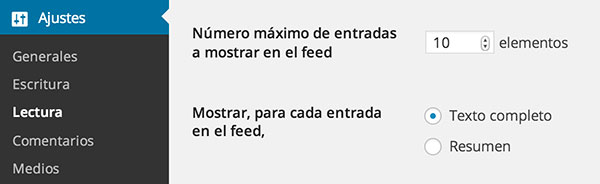 Ajustes del feed en WordPress