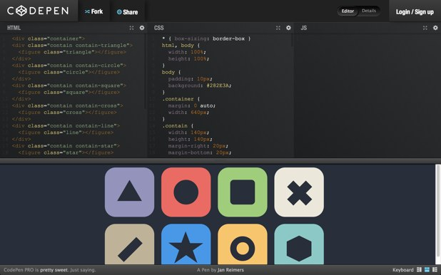Codepen: editor HTML, CSS y JS online